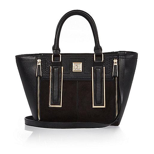Black mini winged tote handbag