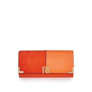 Orange panel foldover clutch