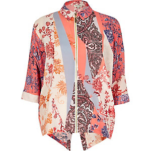 Pink print zip front shirt