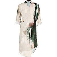 Cream print wrap shirt dress