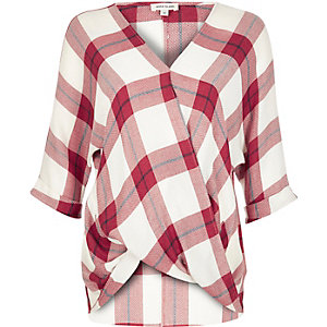 Red checked wrap blouse