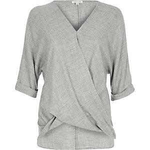 Grey wrap blouse
