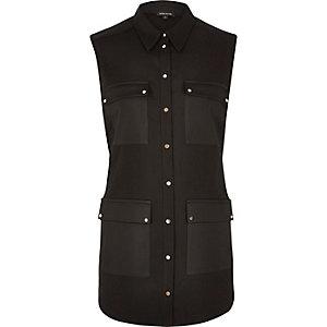 Black four pocket sleeveless satin shirt