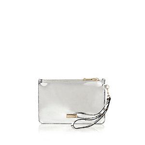 Metallic silver zip purse