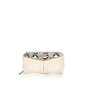 Pink snake print panel purse