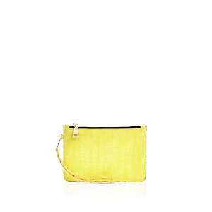 Lime croc effect pouch purse