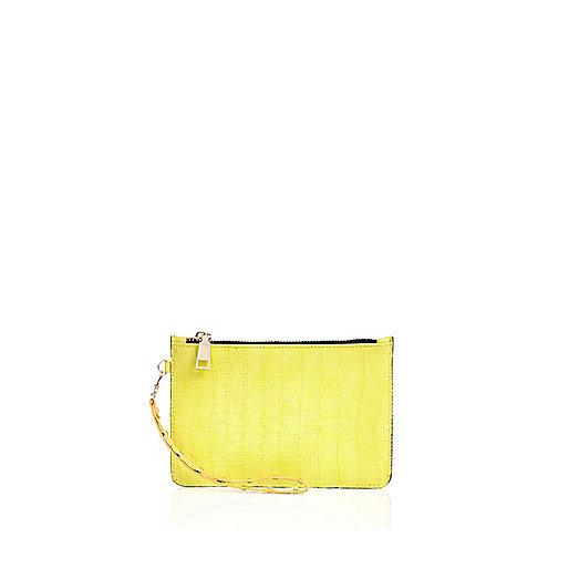 Lime croc effect pouch purse