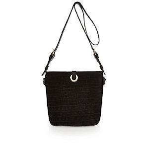 Black suede eyelet bucket handbag