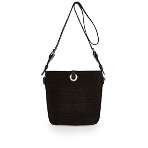 Black suede eyelet bucket handbag