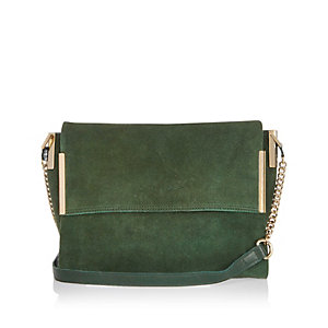Green suede foldover handbag