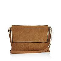 Tan suede foldover handbag