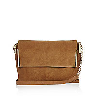 Tan suede foldover bag