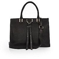 Black leather plait detail handbag