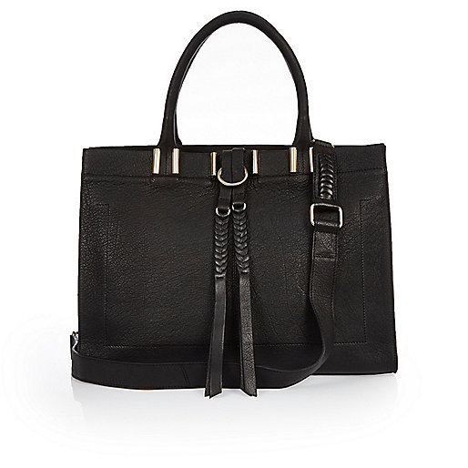 Black leather plait detail handbag