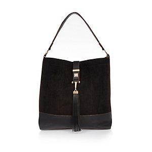 Black oversized slouch handbag