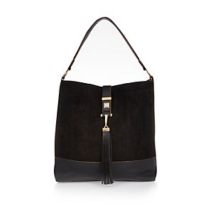 Black oversized slouch handbag