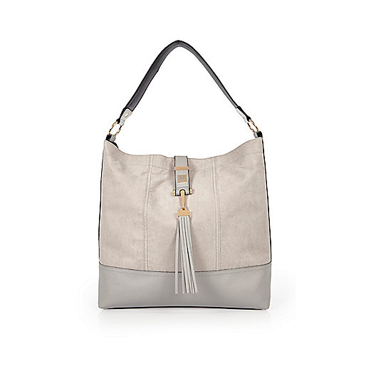 Grand sac à main souple gris