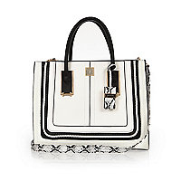 White and black square tote handbag