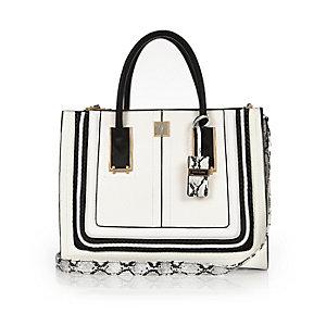 White and black square tote handbag