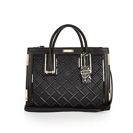 Black raised cord tote handbag