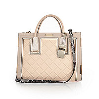 Nude raised cord tote handbag