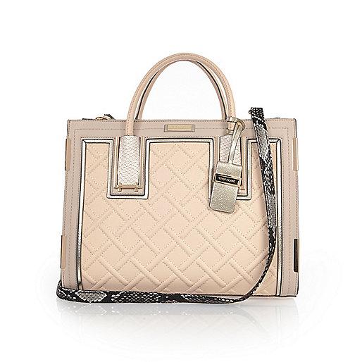 Nude raised cord tote handbag