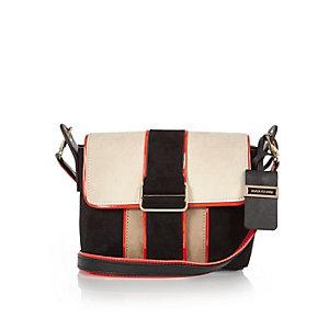 Black faux suede panel cross body handbag