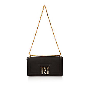 Black chain clutch bag