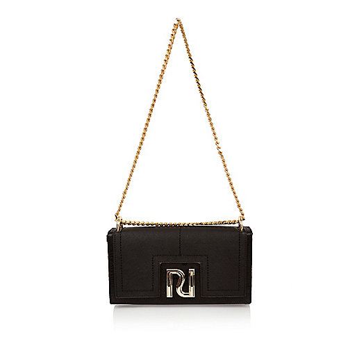 Black chain clutch bag