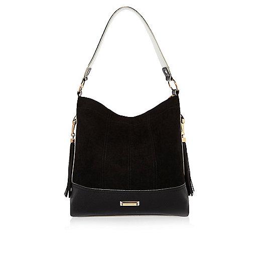 Black tassel slouch handbag