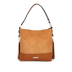 Beige tassel slouch handbag