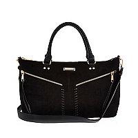 Black whipstitch tote bag