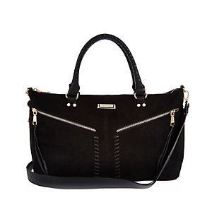 Black whipstitch tote handbag