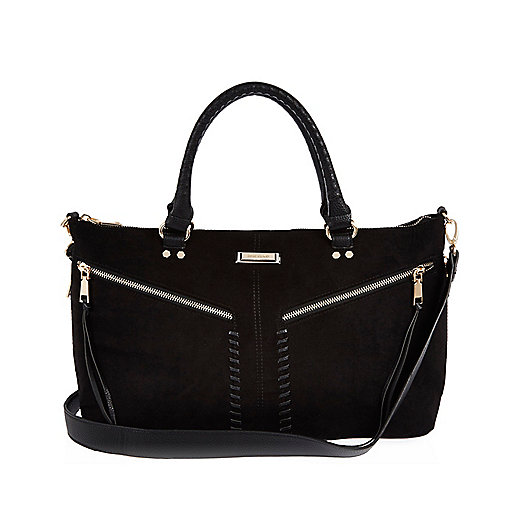 Black whipstitch tote handbag