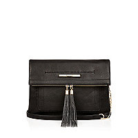Black tassel trim cross body handbag