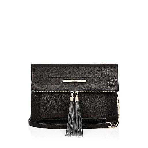 Black tassel trim cross body handbag