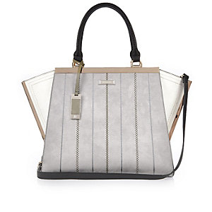 Grey winged tote handbag