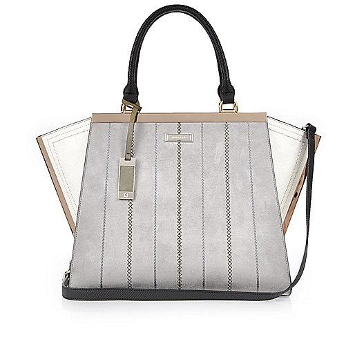 Grey winged tote handbag
