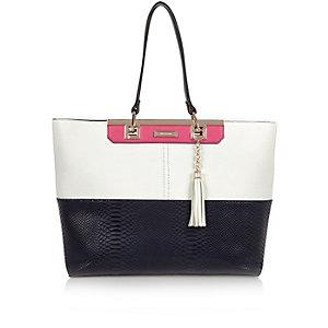 Navy croc effect panelled tote handbag