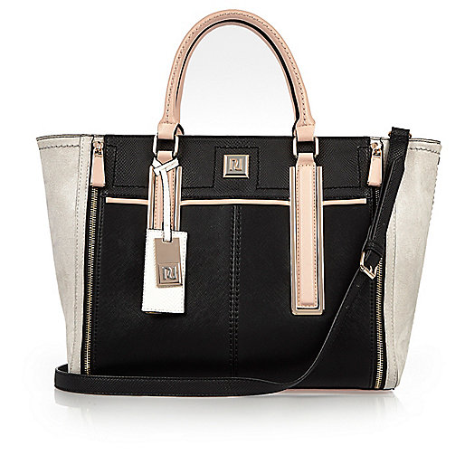 Black panel winged tote handbag