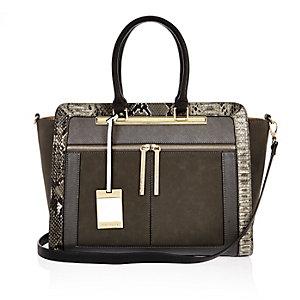 Grey snake print tote handbag