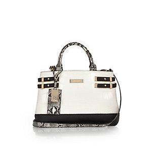 White snakeskin pin buckle tote handbag