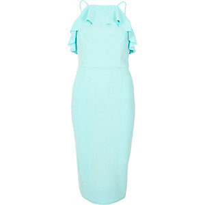 Light blue frill bodice midi dress