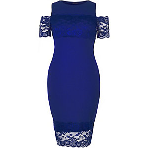 Blue lace panel bardot dress