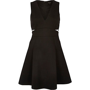 Black plunge cut-out skater dress