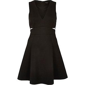 Black plunge cut-out skater dress