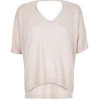 Light pink knit keyhole top