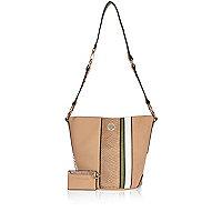 Tan stripe bucket handbag