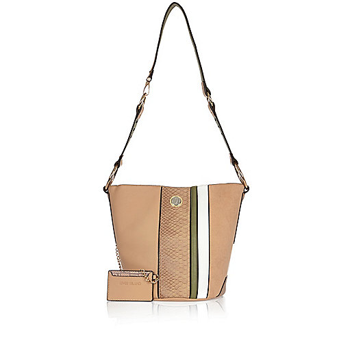 Tan stripe bucket handbag