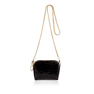 Black patent croc effect chain handbag